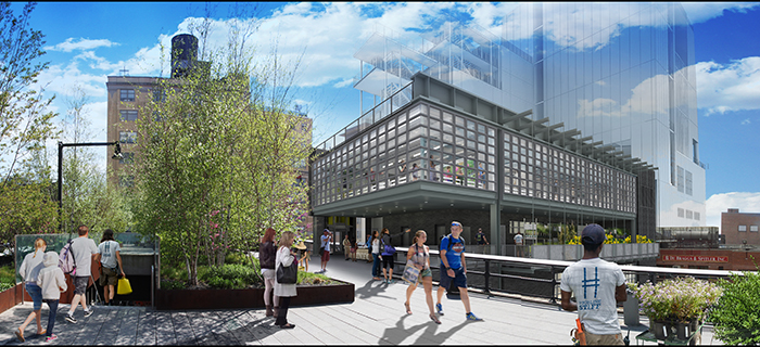 A rendering of The Diller – von Furstenberg Building, the High Line's new operations center, located at the southern terminus of the park. Image by Renzo Piano Building Workshop and Beyer Blinder Belle.